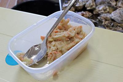 スモークした鮭入りポテト
