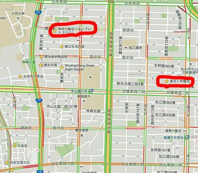 ホテルと喜多士豆漿店(シードォスードウジャンデェン)の位置
