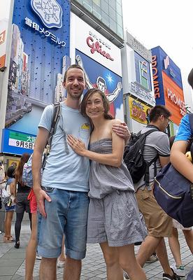 道頓堀でベタに記念写真