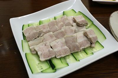 塩茹で豚 辛子にんにく味噌添え