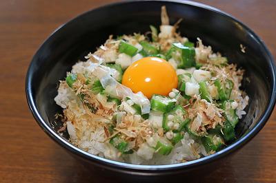 食べてなかった惣菜で「オクラ長芋丼」