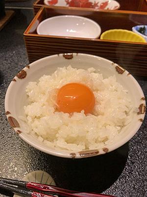 白身だけ先に混ぜた玉子かけご飯(米寿の卵)
