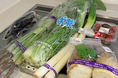 道の駅で買うた竹の子などの野菜
