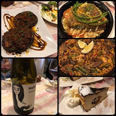 ジャンボマッシュルームと魚料理、鶏肉のパエリア