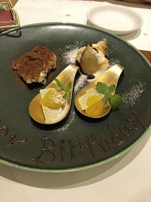 デザートは誕生日仕様